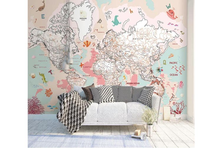 3D Home Wallpaper Pink Map 1435 ACH Wall Murals Self-adhesive Vinyl, XL 208cm x 146cm (WxH)(82''x58'')