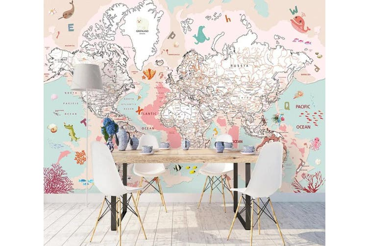 3D Home Wallpaper Pink Map 1435 ACH Wall Murals Self-adhesive Vinyl, XXL 312cm x 219cm (WxH)(123''x87'')
