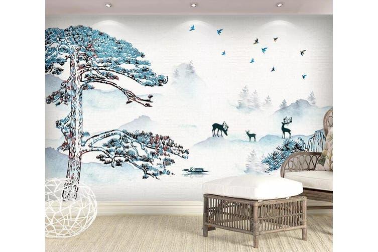 3D Home Wallpaper Deer Forest 1434 ACH Wall Murals Woven paper (need glue), XXL 312cm x 219cm (WxH)(123''x87'')