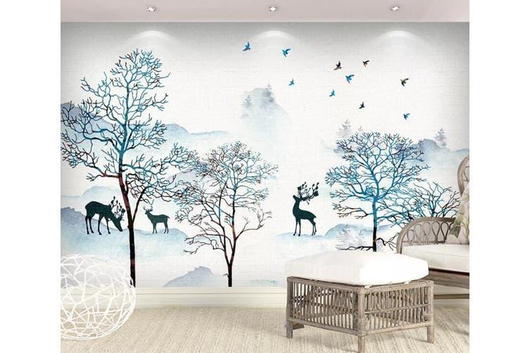 3D Home Wallpaper Deer Forest 1433 ACH Wall Murals Self-adhesive Vinyl, XXL 312cm x 219cm (WxH)(123''x87'')