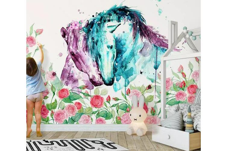 3D Home Wallpaper Horse Flower 1427 ACH Wall Murals Woven paper (need glue), XXL 312cm x 219cm (WxH)(123''x87'')