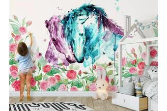 3D Home Wallpaper Horse Flower 1427 ACH Wall Murals Woven paper (need glue), XXXL 416cm x 254cm (WxH)(164''x100'')