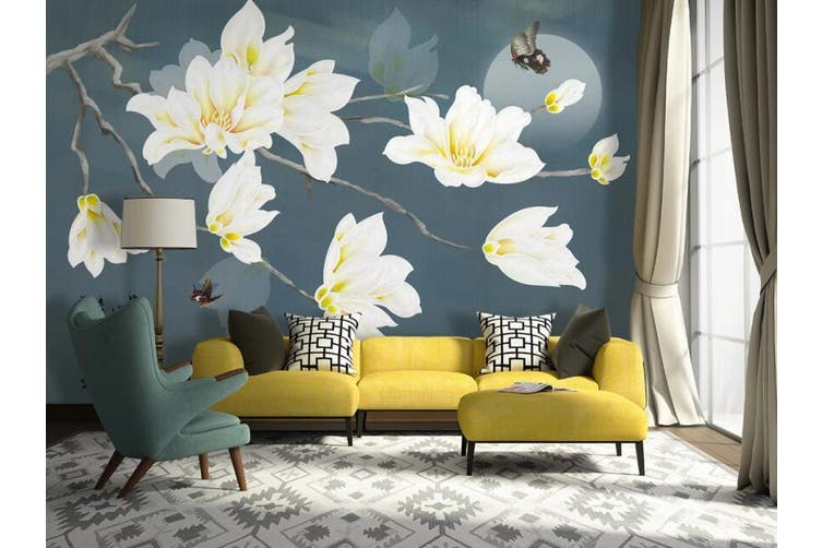3D Home Wallpaper White Flowers 1421 ACH Wall Murals Woven paper (need glue), XXXXL 520cm x 290cm (WxH)(205''x114'')