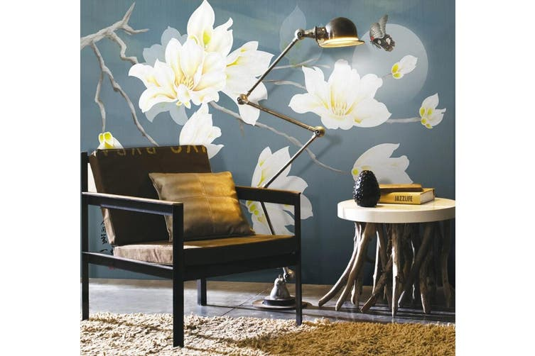 3D Home Wallpaper White Flowers 1421 ACH Wall Murals Self-adhesive Vinyl, XXXXL 520cm x 290cm (WxH)(205''x114'')