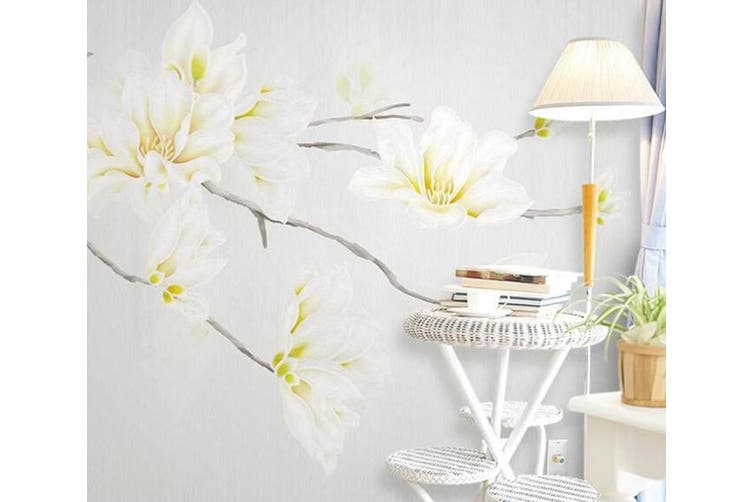 3D Home Wallpaper White Flowers 1420 ACH Wall Murals Woven paper (need glue), XXXL 416cm x 254cm (WxH)(164''x100'')