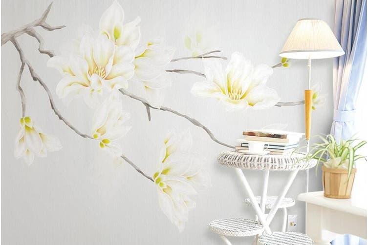 3D Home Wallpaper White Flowers 1420 ACH Wall Murals Self-adhesive Vinyl, XL 208cm x 146cm (WxH)(82''x58'')