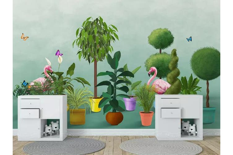 3D Home Wallpaper Flamingo Forest 1416 ACH Wall Murals Woven paper (need glue), XL 208cm x 146cm (WxH)(82''x58'')
