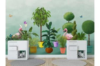 3D Home Wallpaper Flamingo Forest 1416 ACH Wall Murals Self-adhesive Vinyl, XXXL 416cm x 254cm (WxH)(164''x100'')