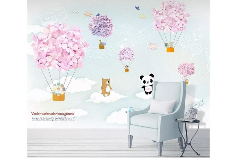 3D Home Wallpaper Bear Balloon 14D ACH Wall Murals Woven paper (need glue), XXXL 416cm x 254cm (WxH)(164''x100'')