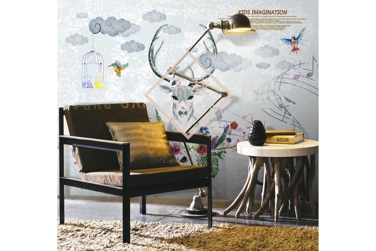 3D Home Wallpaper Elk Cute 1409 ACH Wall Murals Woven paper (need glue), XXL 312cm x 219cm (WxH)(123''x87'')