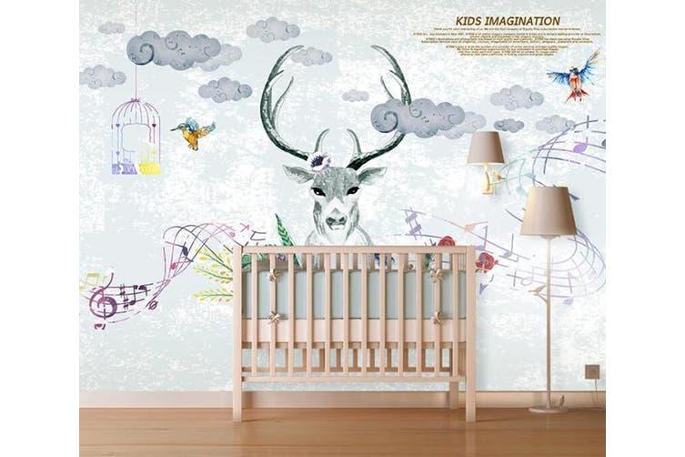 3D Home Wallpaper Elk Cute 1409 ACH Wall Murals Self-adhesive Vinyl, XXL 312cm x 219cm (WxH)(123''x87'')