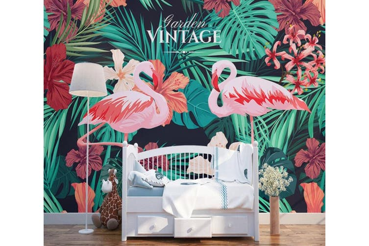 3D Home Wallpaper Flamingo Leaves 1407 ACH Wall Murals Woven paper (need glue), XXL 312cm x 219cm (WxH)(123''x87'')