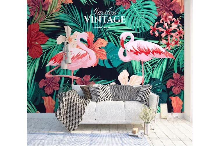 3D Home Wallpaper Flamingo Leaves 1407 ACH Wall Murals Woven paper (need glue), XXXL 416cm x 254cm (WxH)(164''x100'')
