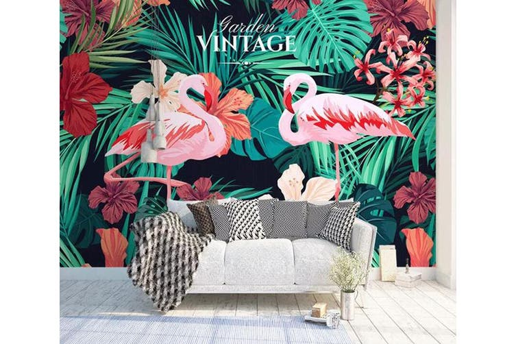 3D Home Wallpaper Flamingo Leaves 1407 ACH Wall Murals Self-adhesive Vinyl, XXL 312cm x 219cm (WxH)(123''x87'')