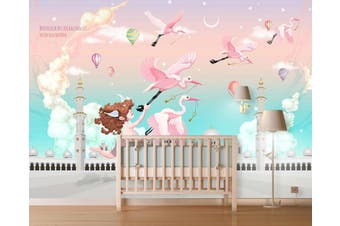 3D Home Wallpaper Pink Bird 1406 ACH Wall Murals Woven paper (need glue), XXXXL 520cm x 290cm (WxH)(205''x114'')