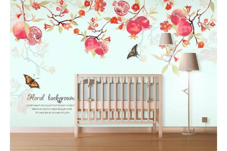 3D Home Wallpaper Flower Butterfly 14Y ACH Wall Murals Self-adhesive Vinyl, XXL 312cm x 219cm (WxH)(123''x87'')