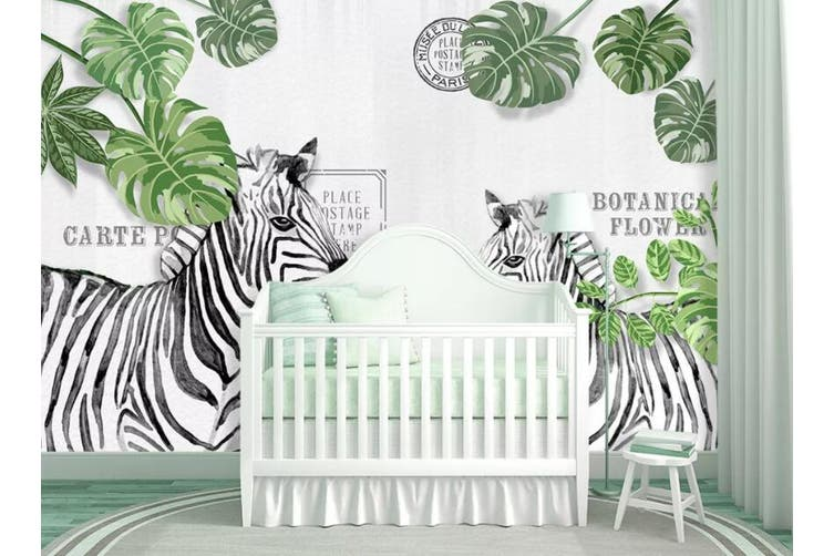 3D Home Wallpaper Leaf Zebra 14W ACH Wall Murals Woven paper (need glue), XXXXL 520cm x 290cm (WxH)(205''x114'')