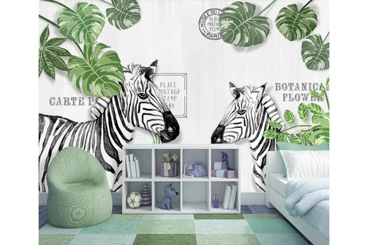 3D Home Wallpaper Leaf Zebra 14W ACH Wall Murals Self-adhesive Vinyl, XXL 312cm x 219cm (WxH)(123''x87'')