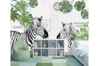 3D Home Wallpaper Leaf Zebra 14W ACH Wall Murals Self-adhesive Vinyl, XXXXL 520cm x 290cm (WxH)(205''x114'')