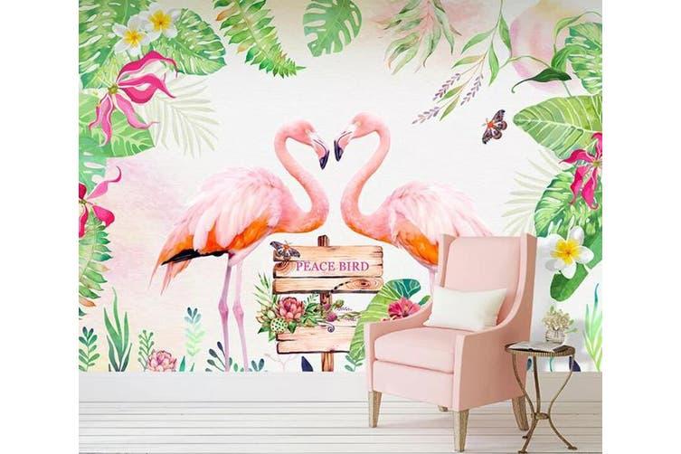 3D Home Wallpaper Pink Flamingo D98 ACH Wall Murals Woven paper (need glue), XXL 312cm x 219cm (WxH)(123''x87'')