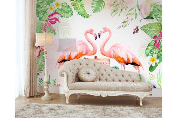 3D Home Wallpaper Pink Flamingo D98 ACH Wall Murals Woven paper (need glue), XXXL 416cm x 254cm (WxH)(164''x100'')
