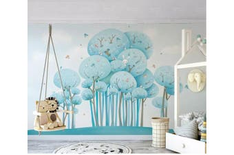 3D Home Wallpaper Blue Tree D97 ACH Wall Murals Woven paper (need glue), XXL 312cm x 219cm (WxH)(123''x87'')
