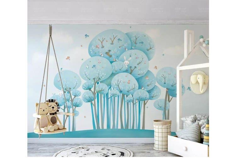 3D Home Wallpaper Blue Tree D97 ACH Wall Murals Woven paper (need glue), XXXL 416cm x 254cm (WxH)(164''x100'')