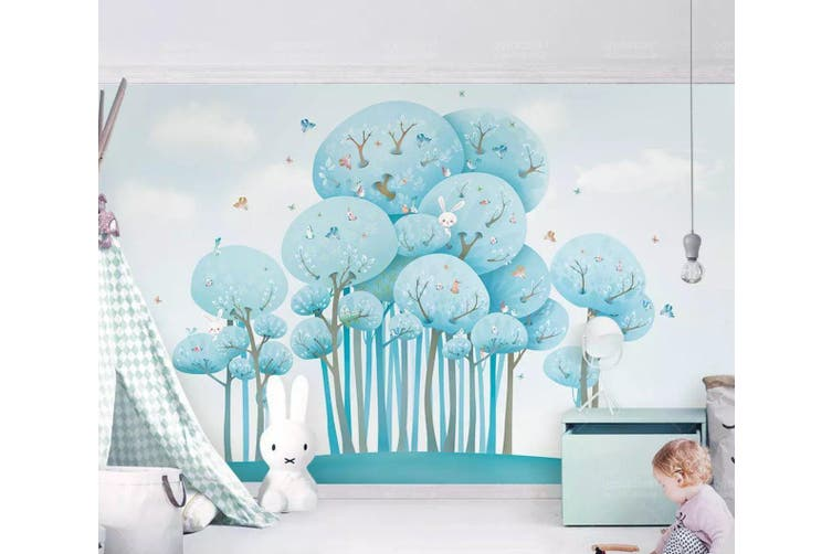 3D Home Wallpaper Blue Tree D97 ACH Wall Murals Self-adhesive Vinyl, XXL 312cm x 219cm (WxH)(123''x87'')