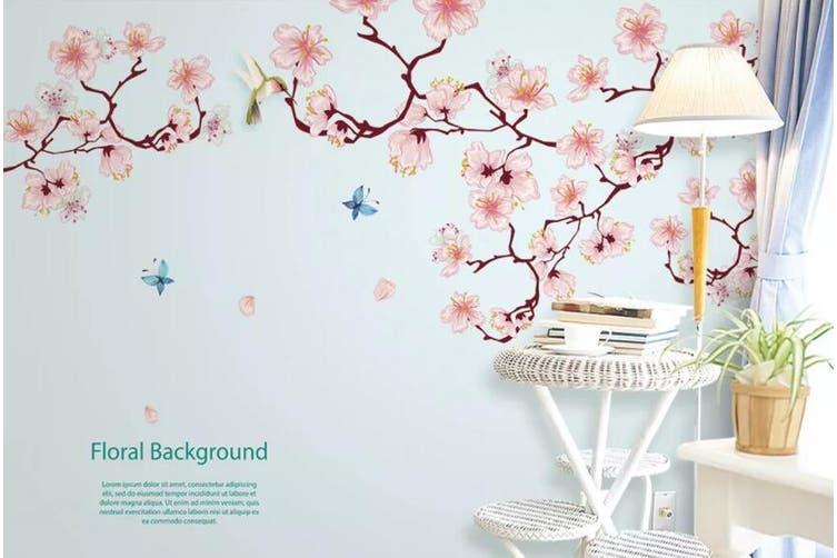 3D Home Wallpaper Pink Flowers D95 ACH Wall Murals Self-adhesive Vinyl, XL 208cm x 146cm (WxH)(82''x58'')