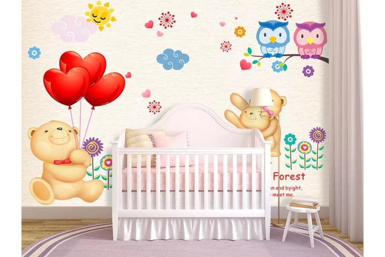 3D Home Wallpaper Cute Bear D94 ACH Wall Murals Self-adhesive Vinyl, XXXXL 520cm x 290cm (WxH)(205''x114'')