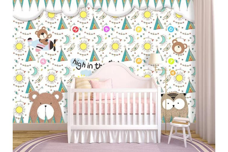 3D Home Wallpaper Cute Bear D89 ACH Wall Murals Woven paper (need glue), XXXL 416cm x 254cm (WxH)(164''x100'')