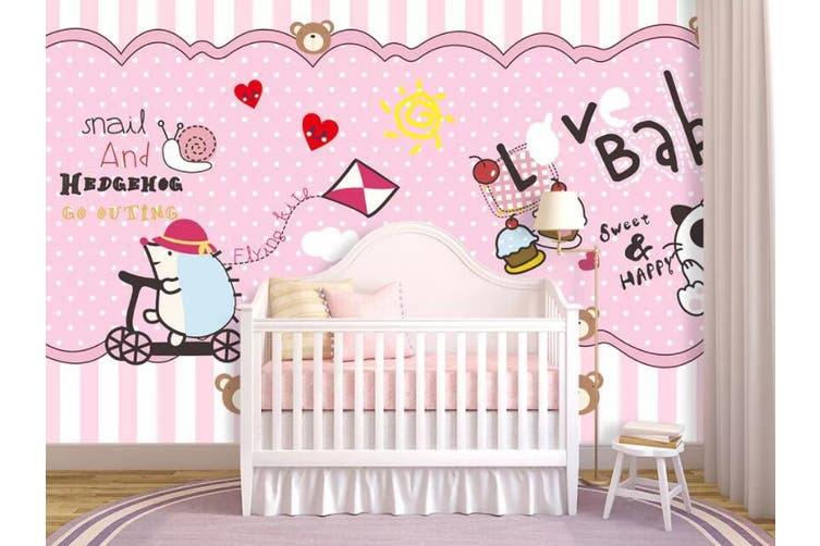 3D Home Wallpaper Pink Bear D86 ACH Wall Murals Woven paper (need glue), XL 208cm x 146cm (WxH)(82''x58'')