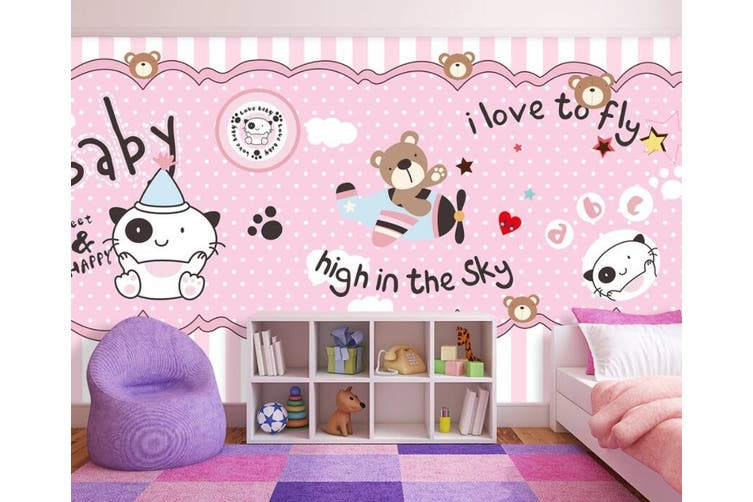 3D Home Wallpaper Pink Bear D86 ACH Wall Murals Woven paper (need glue), XXXL 416cm x 254cm (WxH)(164''x100'')