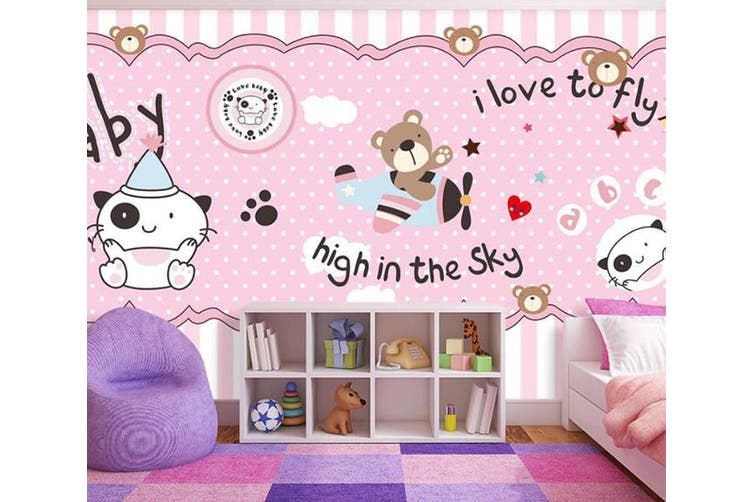 3D Home Wallpaper Pink Bear D86 ACH Wall Murals Self-adhesive Vinyl, XXXL 416cm x 254cm (WxH)(164''x100'')