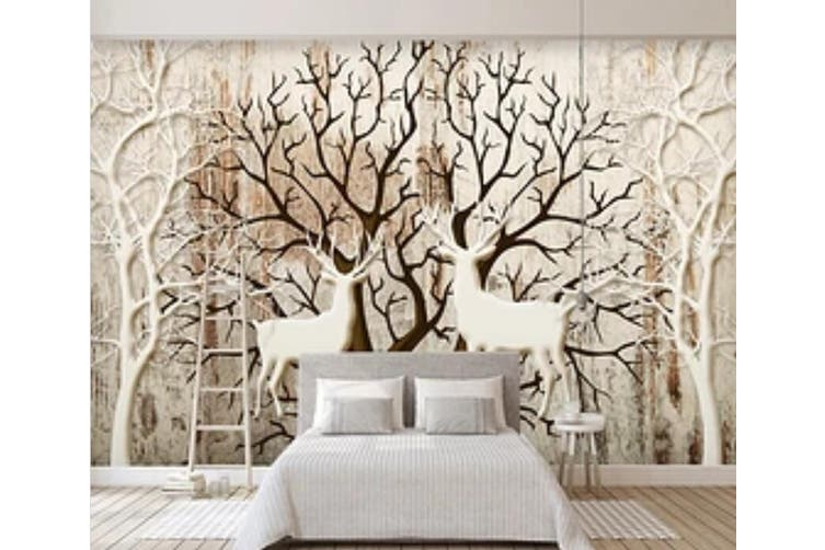 3D Home Wallpaper Deer Forest D85 ACH Wall Murals Self-adhesive Vinyl, XL 208cm x 146cm (WxH)(82''x58'')