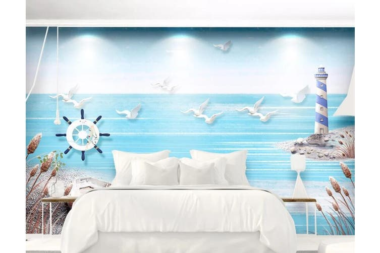 3D Home Wallpaper Sea Seabird D81 ACH Wall Murals Woven paper (need glue), XXL 312cm x 219cm (WxH)(123''x87'')