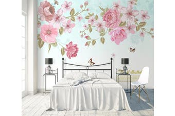3D Home Wallpaper Flower Butterfly D78 ACH Wall Murals Self-adhesive Vinyl, XL 208cm x 146cm (WxH)(82''x58'')