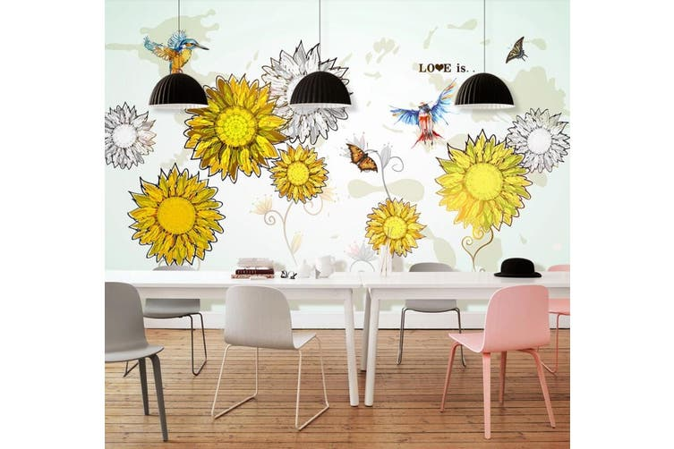3D Home Wallpaper Sunflower D76 ACH Wall Murals Self-adhesive Vinyl, XL 208cm x 146cm (WxH)(82''x58'')