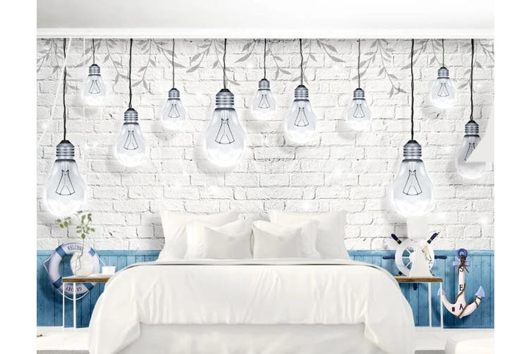 3D Home Wallpaper Light Bulb D74 ACH Wall Murals Self-adhesive Vinyl, XL 208cm x 146cm (WxH)(82''x58'')