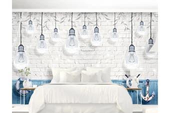 3D Home Wallpaper Light Bulb D74 ACH Wall Murals Self-adhesive Vinyl, XXL 312cm x 219cm (WxH)(123''x87'')