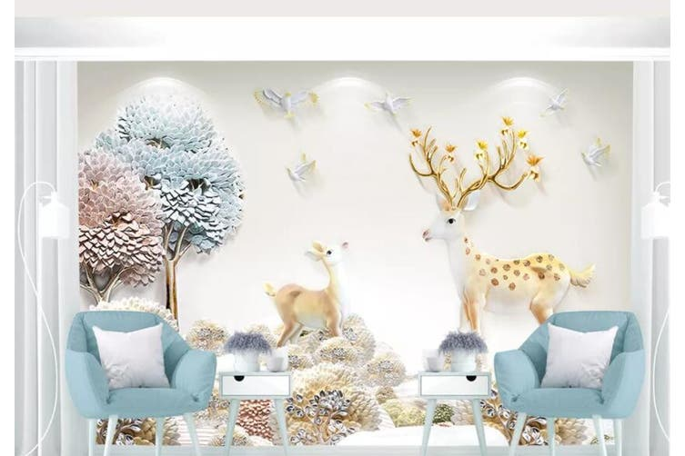 3D Home Wallpaper Small Tree Forest D73 ACH Wall Murals Woven paper (need glue), XXL 312cm x 219cm (WxH)(123''x87'')