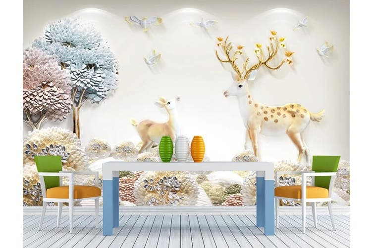 3D Home Wallpaper Small Tree Forest D73 ACH Wall Murals Woven paper (need glue), XXXXL 520cm x 290cm (WxH)(205''x114'')