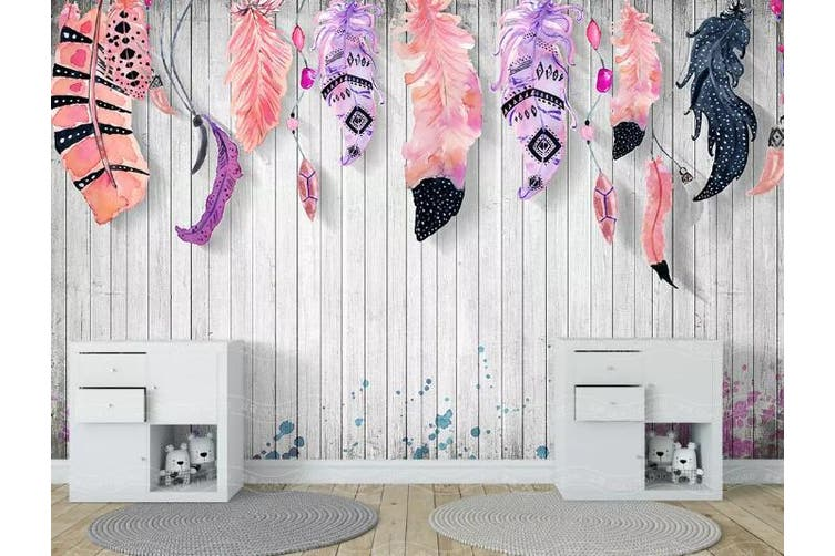 3D Home Wallpaper Colored Feather D65 ACH Wall Murals Woven paper (need glue), XXL 312cm x 219cm (WxH)(123''x87'')