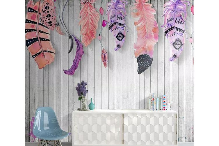 3D Home Wallpaper Colored Feather D65 ACH Wall Murals Self-adhesive Vinyl, XL 208cm x 146cm (WxH)(82''x58'')
