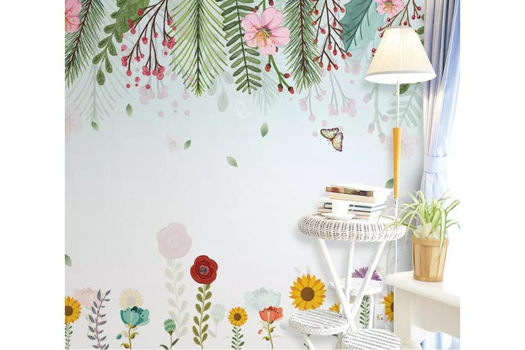 3D Home Wallpaper Flower Butterfly D57 ACH Wall Murals Woven paper (need glue), XXL 312cm x 219cm (WxH)(123''x87'')