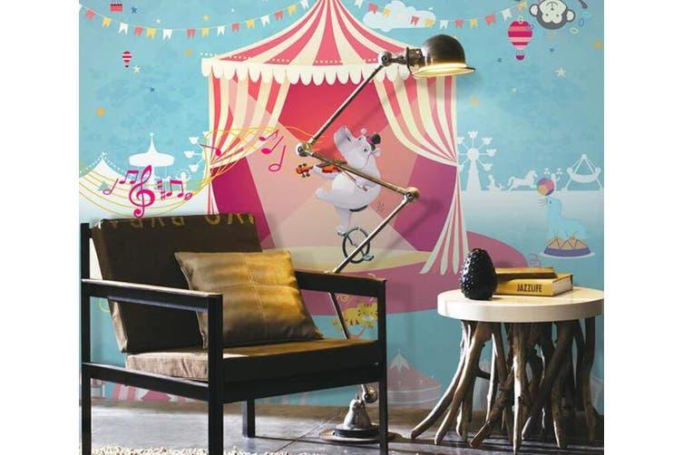 3D Home Wallpaper Hippo Biking D56 ACH Wall Murals Woven paper (need glue), XL 208cm x 146cm (WxH)(82''x58'')