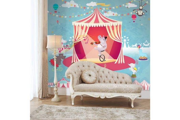 3D Home Wallpaper Hippo Biking D56 ACH Wall Murals Woven paper (need glue), XXL 312cm x 219cm (WxH)(123''x87'')