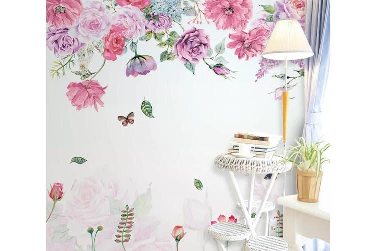 3D Home Wallpaper Pink Flowers D51 ACH Wall Murals Self-adhesive Vinyl, XXL 312cm x 219cm (WxH)(123''x87'')