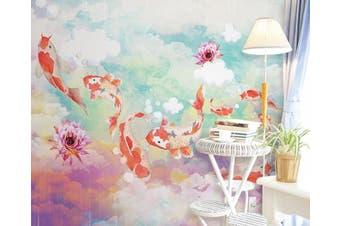 3D Home Wallpaper Goldfish D49 ACH Wall Murals Woven paper (need glue), XL 208cm x 146cm (WxH)(82''x58'')