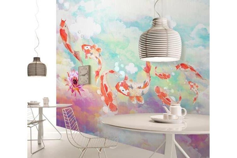 3D Home Wallpaper Goldfish D49 ACH Wall Murals Woven paper (need glue), XXXL 416cm x 254cm (WxH)(164''x100'')
